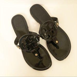 Tory Burch Black Patent Miller Sandals Size 6 1/2
